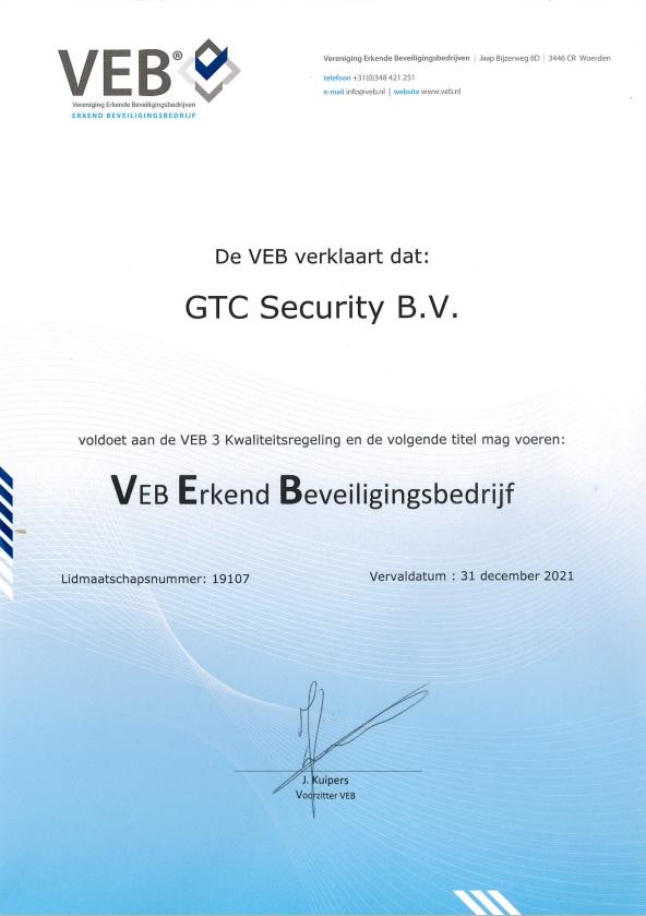 Beveiligingsbedrijf Nederland Certificaat VEB